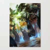 magic the gathering Canvas Prints featuring Forest - Magic: The Gathering by vmeignaud