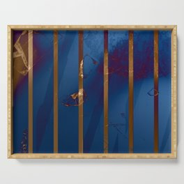 Electric Blue Abstract with Gold Stripes Serving Tray