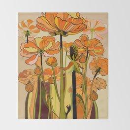 Orange California poppies, mid century, 70s retro, flowers Throw Blanket