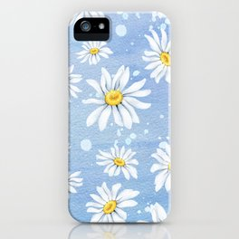 Spring Daisies On Sky Blue Watercolour iPhone Case
