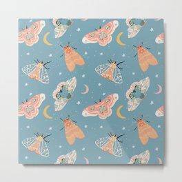 Moth & Moons Pattern - Dusty Teal Blue Metal Print