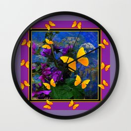 PURPLE-PUCE YELLOW BUTTERFLIES FLORAL ABSTRACT Wall Clock