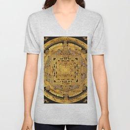 Buddhist Mandala Gold Temple 40 Unisex V-Neck