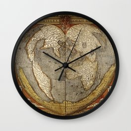 Heart-shaped projection map by Oronce Fine, 16th century Wall Clock