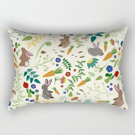 Rabbits In The Garden Rectangular Pillow