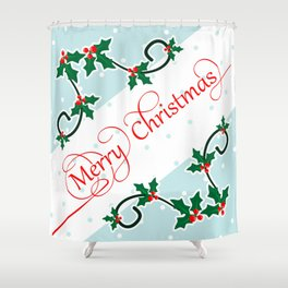 Merry Christmas with Holly Berries corners Shower Curtain