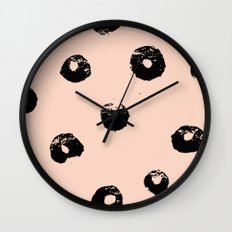 black & pale peach /geometric series 2 Wall Clock