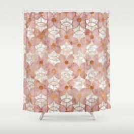 Rose Gold Art Deco Butterfly Pattern Shower Curtain