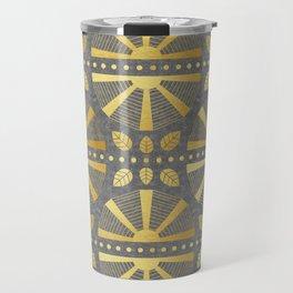Gold & Grey Art Deco Fan Travel Mug