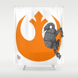 Droid Eek! (orange) - BB8 and AT-AT Standoff Shower Curtain