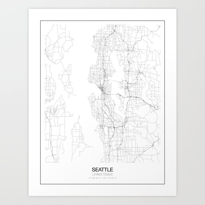 Art Print by Resfeber   Minimalist Maps