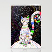 space cat Stationery Cards featuring Space cat by ezgi karaata