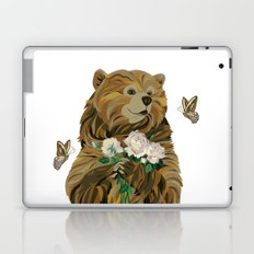Bear with flowers and butterflies Laptop & iPad Skin