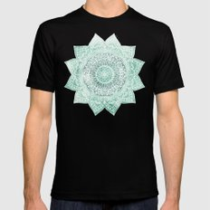 DEEP MINT MANDALA Mens Fitted Tee Black MEDIUM