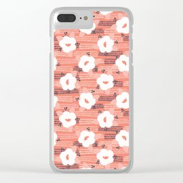 Hand drawn bold coral white spring flower blooms Clear iPhone Case