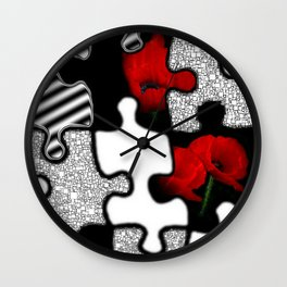 poppylove with puzzle design Wall Clock