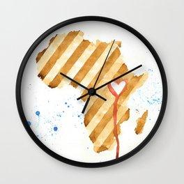 I Love Uganda (coffee painting) Wall Clock