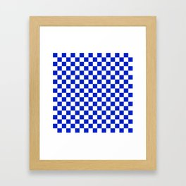 Cobalt Blue and White Checkerboard Pattern Framed Art Print