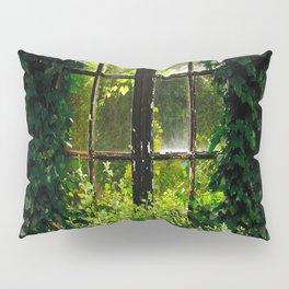 Green idyllic overgrown cottage garden window Pillow Sham