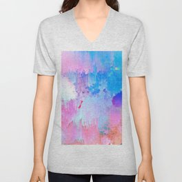 Abstract Candy Glitch - Pink, Blue and Ultra violet #abstractart #glitch Unisex V-Neck