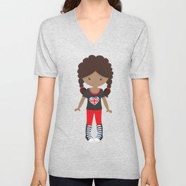 African American Girl, London Girl, Fashion Girl Unisex V-Neck