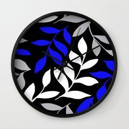 BLUE leaf Black leaf  Gray leaf Pattern Wall Clock