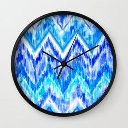 Blue Watercolor Ikat Wall Clock