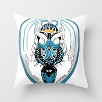 skyfall Throw Pillows featuring Skyfall Dragon by Pr0l0gue