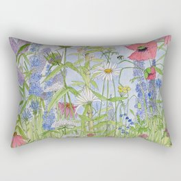 Flowers Alive Watercolor Rectangular Pillow