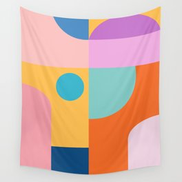Playful Color Block Shapes in Bright Shades of Orange, Blue, Yellow, and Pink Wall Tapestry