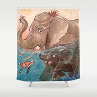 elephants Shower Curtains featuring Elephants by Paloma  Galzi