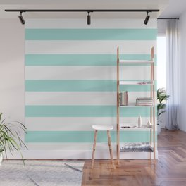 Aqua blue and White stripes lines - horizontal Wall Mural