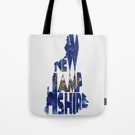 New Hampshire Typographic Flag Map Art Tote Bag