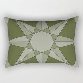 Green Herbal Sun - Geometric Mandala Rectangular Pillow
