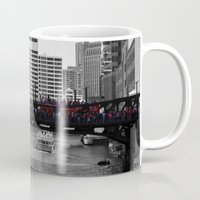 blackhawks Mugs featuring Chicago Blackhawks 2013 Championship Parade Route by Michael A. Hubatch