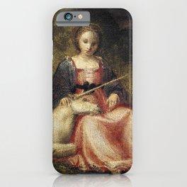 Girl with baby Unicorn iPhone Case