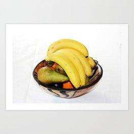 Fruit in a Wooden Bowl, Banana, orange, Pear, Plum Art Print
