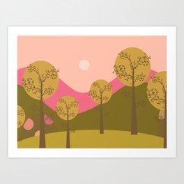 Kawai landscape autumn Art Print