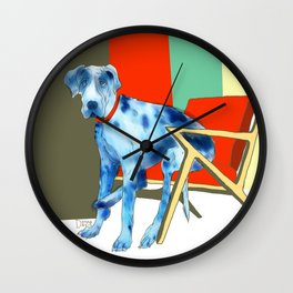 Great Dane in Chair #1 Wall Clock