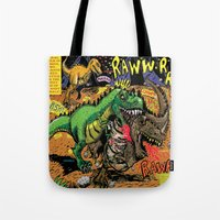 hobbes Tote Bags featuring Space Chick & Nympho: Vampire Warrior Party Girl Comix #1- Tyrano the Dinosaur-God  in Comic Page  by Tex Watt