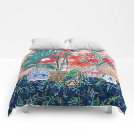 The Domesticated Jungle - Floral Still Life Comforters