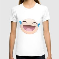 sticker T-shirts featuring SMILEY STICKER by ADAMLAWLESS