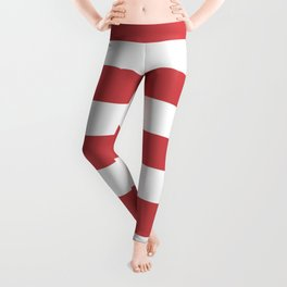 English vermillion - solid color - white stripes pattern Leggings
