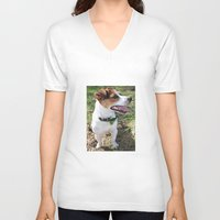 jack russell V-neck T-shirts featuring Jack Russell by Brmbrmba27