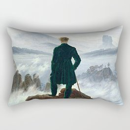Wanderer above the Sea of Fog Painting by Caspar David Friedrich Rectangular Pillow