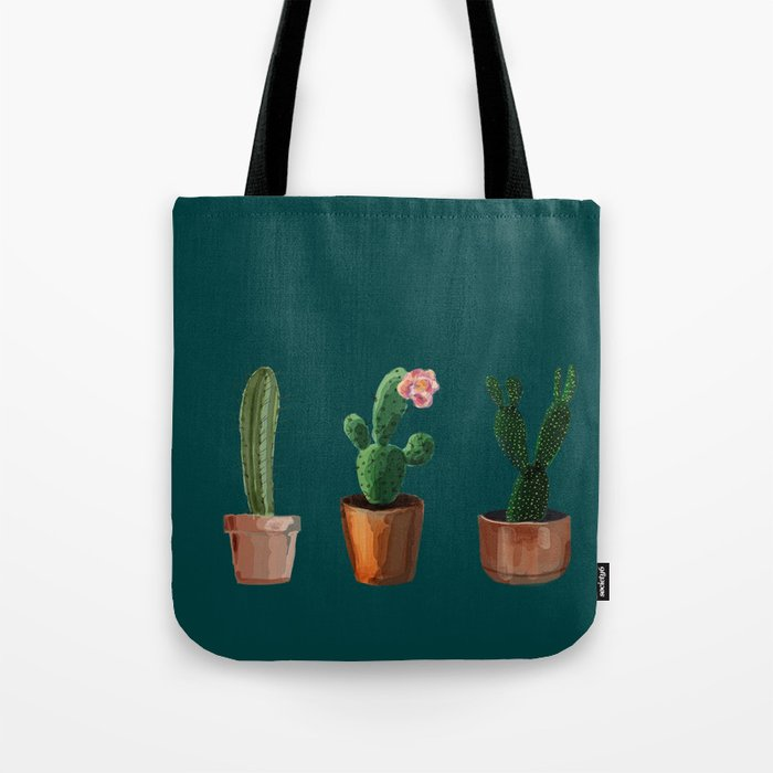 Three Cacti On Green Background Tote Bag