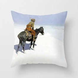 """Frederic Remington Western Art """"The Scout"""" Throw Pillow"""