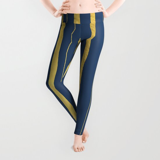 Vertical Living Navy and Gold Leggings