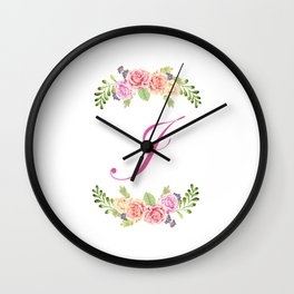 Floral Initial Letter J Wall Clock
