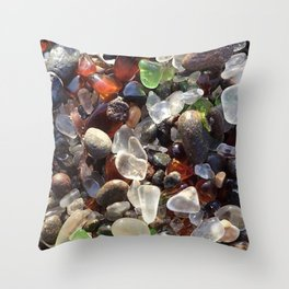 Glass beach California Throw Pillow